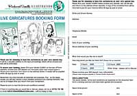 Wedding caricatures order form